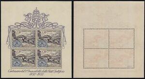"""Vaticano 1952 """"Centenario 1° francobollo"""" foglietto n.1 nuovo MNH** gomma integr"""