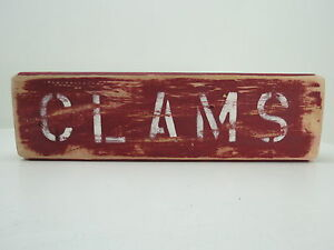 #s729 Wide Selection; Buy Cheap 12 Inch Wood Hand Painted Clams Sign Nautical Seafood