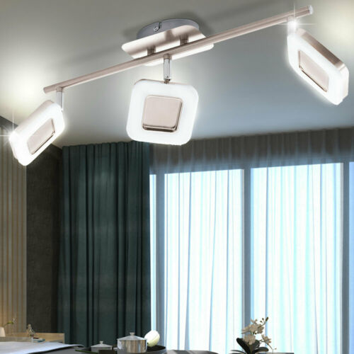 Chrom LED Leuchte Decken Lampe Muster Kristalle Arbeitszimmer LxBxH 24x24x8,5 cm