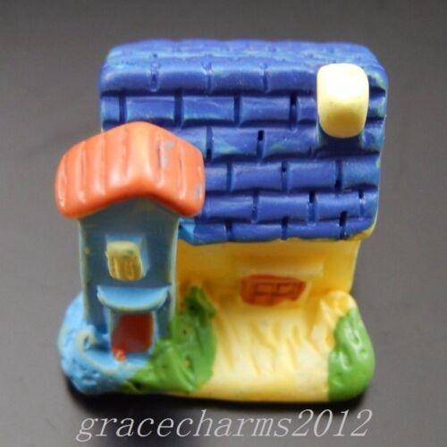 6 Pcs Coloré Résine House Craft Cabochons Flatbacks Décorations 13x15x16mm