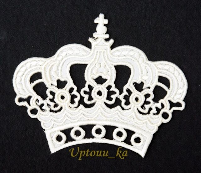 1x DIY Beautiful White Royal Crown Crest Embroidered Sew Iron on Patch Applique