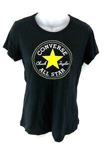 Haut-femme-CONVERSE-T-Shirt-Top-S-petit-en-coton-noir