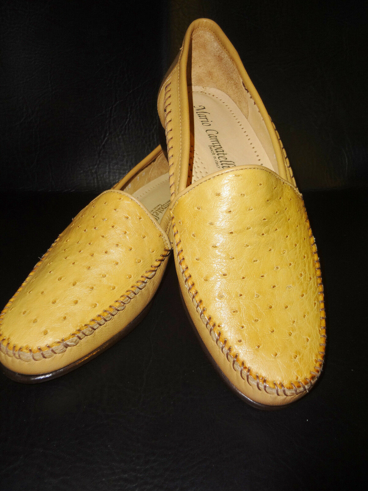 New - Mario Campatelli - Genuine Ostrich Loafer shoes - Made in  Size 7M
