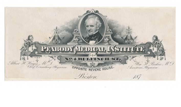 Peabody Medical Institute, Boston, 1870s Billhead Proof