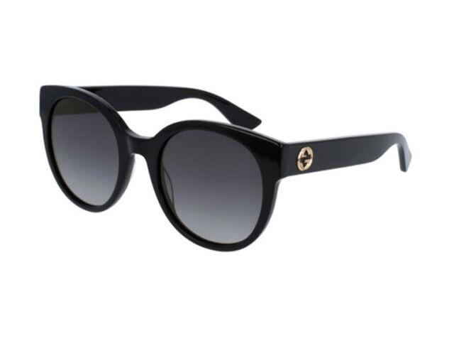 095120a0ba0 Gucci Gg0035s 001 Grey Shiny Black Oversized Round Style Sunglasses ...