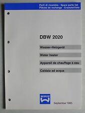 WEBASTO Wasser-Heizgerät DBW 2020 Ersatzteilliste, 9.1985, 36 Seiten