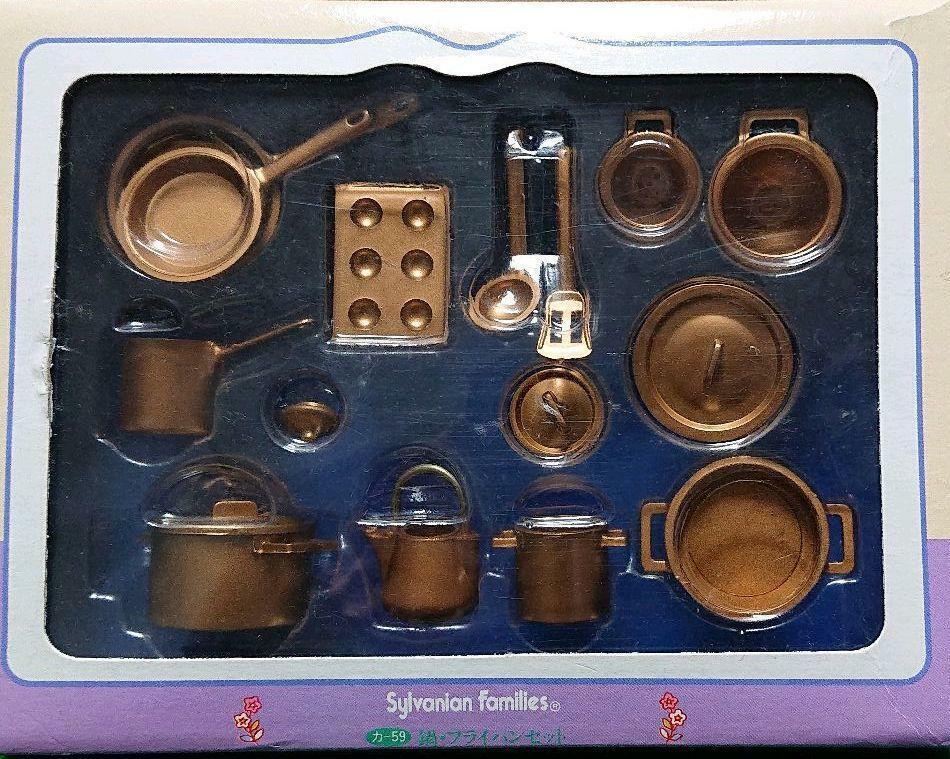 Sylvanian Families Calico Critters Pot Frying pan set Vintage  10630