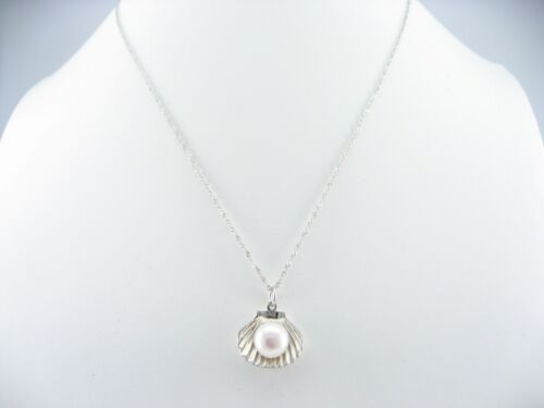 """17/"""" AAAA 10mm Real Cultured Freshwater Pearl 925 Sterling Silver Shell Necklace"""
