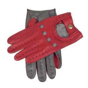 Dents Waverley Men's Two Tone Leather Driving Gloves BERRY/CHARCOAL
