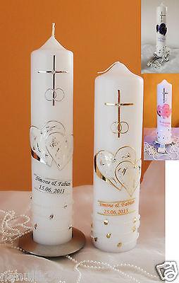 Hochzeitskerze gold creme Kerze zur Hochzeit gold 26,5 x6 cm Hochzeit Geschenk