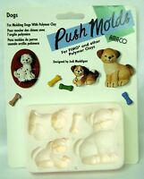 Amaco Polymer Clay Push Mold - Dogs & Dog Bones - So Cute Vintage Stock