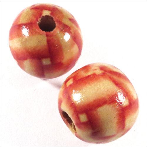 Lot de 20 Perles rondes en Bois 16mm Motif Bandes