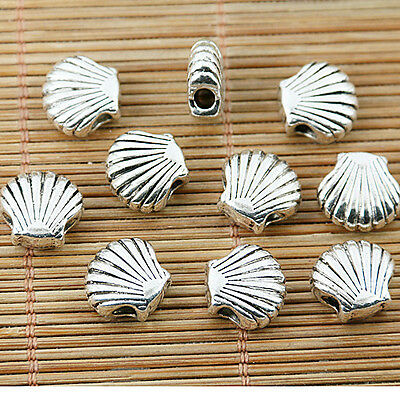 9pcs tibetan silver tone 2sided shell spacer bead EF1777