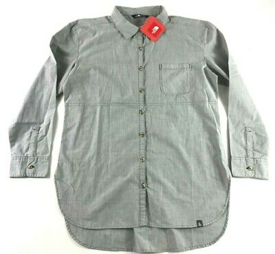 The North Face Women/'s Front Pocket Gray Long Sleeve Button Shirt Size S,M,L,XL