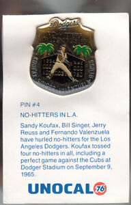 VINTAGE-L-A-DODGERS-UNOCAL-PIN-UNUSED-NO-HITTERS-IN-L-A