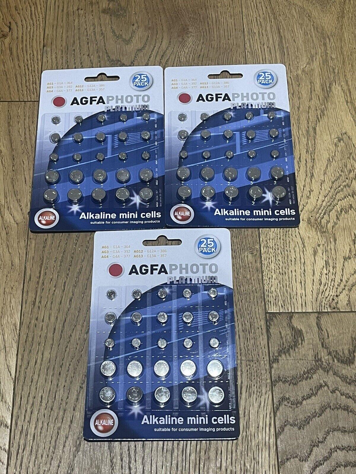 3 X AGFA Alkaline Mini Cell Batteries 25pk for various small appliances (3packs)