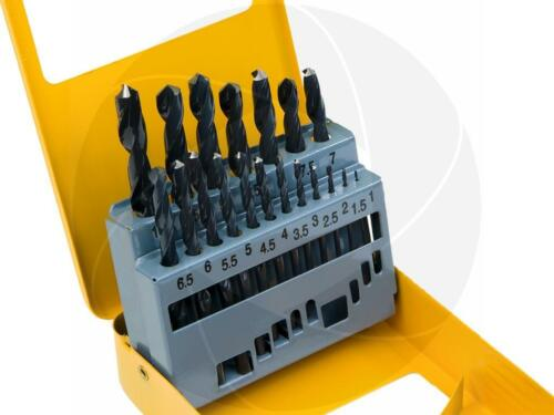 19pc Roll Forged Steel HSS High Speed Twist Metric Drill Bits Set Metal Drilling