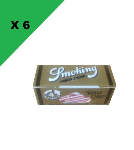 Smoking Slim Rolls Gold lot de 6 rouleaux de 4 mètres de papier à rouler