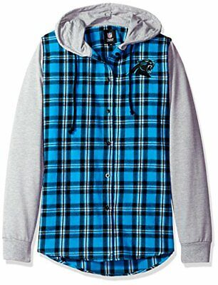 Womens Small Carolina Panthers Lightweight Flannel Hooded Jacket