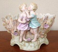 Beautiful Porcelain Kissing Figural Girl Boy Children Flowers Vase Bowl