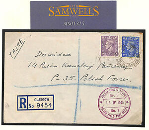 MS1315 1943 Polish Forces WW2 UNDERCOVER ADDRESS Registered Glasgow *PURPLE FPO*