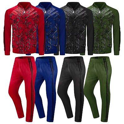 New Men 2 Tone Track Set 7 Colors Hip Hop Jogger Pants Jacket Sizes S-XL Slim