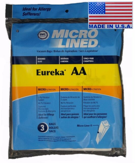 3 Eureka AA Upright Vacuum Bags Victory World Vac Powerline Type AA 2 Belts