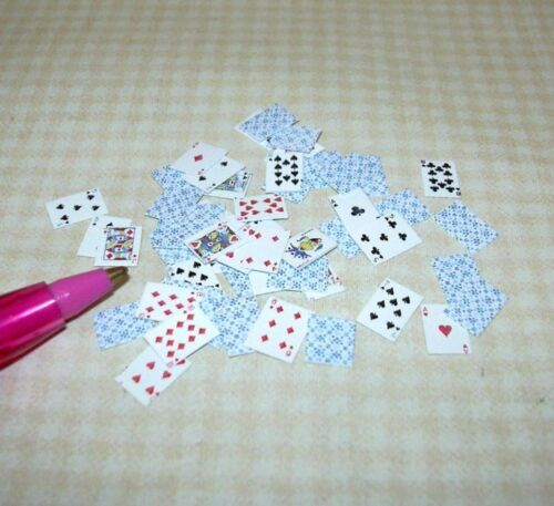 Full Deck of Playing Cards BLUE for DOLLHOUSE 1:12 Scale Miniature 52 Pick-Up