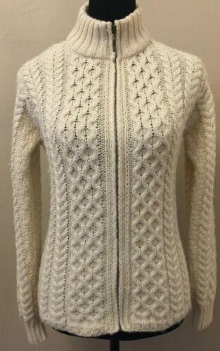 Inis Crafts Womens Fisherman's Cardigan Sweater Sm