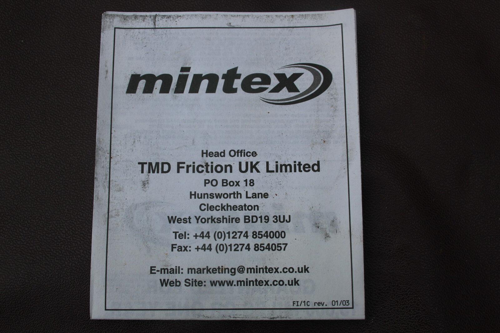 MDB1741 Mintex Front Brake Pad Set Genuine 5 Year   eBay