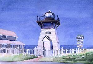 Olcott Lighthouse Lake Ontario, New York . Watercolor Notecards