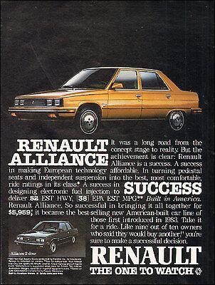 1985 Renault Alliance Race Classic Advertisement Ad P67