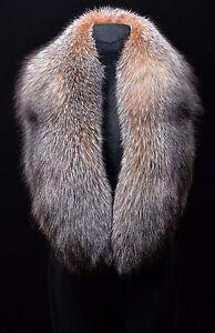 49e01874218 Image is loading Genuine-Crystal-Fox-Fur-Handmade-Stole-Shawl-Scarf-