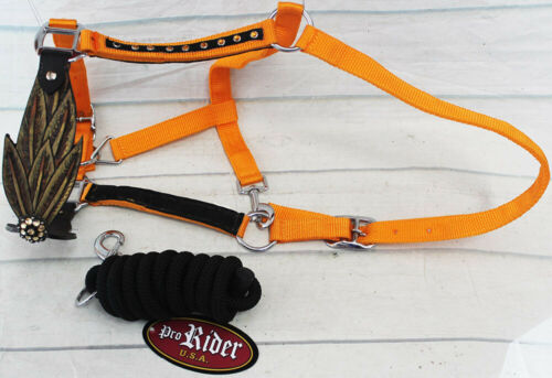 Horse Noseband Tack Bronc Leather HALTER Tiedown Lead Rope  280M8285