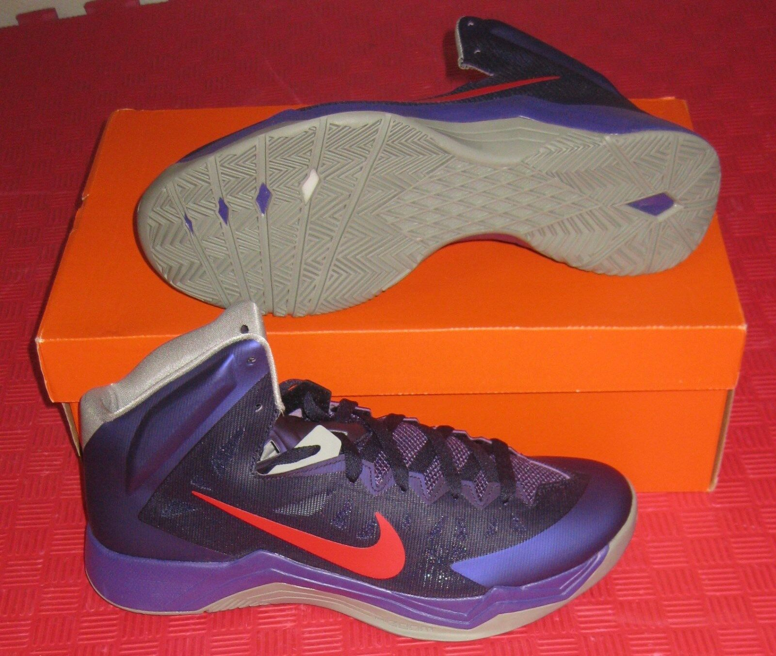 Nike Zoom hyperquickness rojo basketball Zapatos SZ NIB rojo hyperquickness púrpura gris 599519 500 08b842