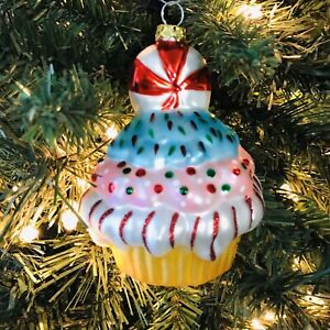 Peppermint Top Cupcake Christmas Tree Ornament Glass Sweets Baking Ebay