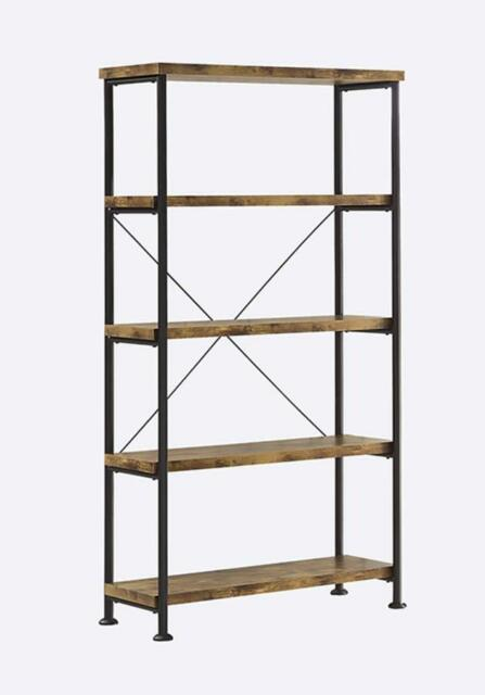 Coaster 801542 Barritt Wood And Metal Open Bookcase NEW