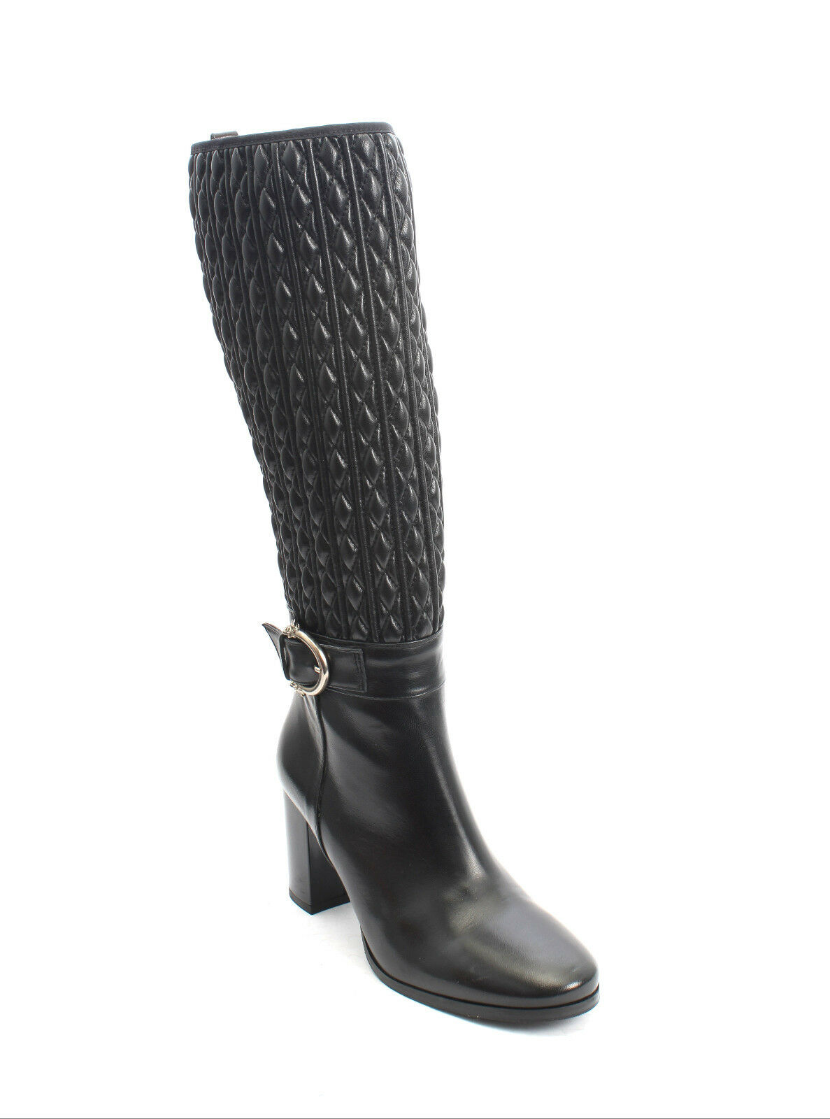 Isabelle 509r Black Quilted Stretch Leather Zip-Up Knee High Boots 38.5 / US 8.5