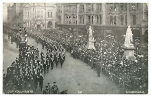 Antique-WW1-military-printed-postcard-Our-Volunteers-Birmingham-marching