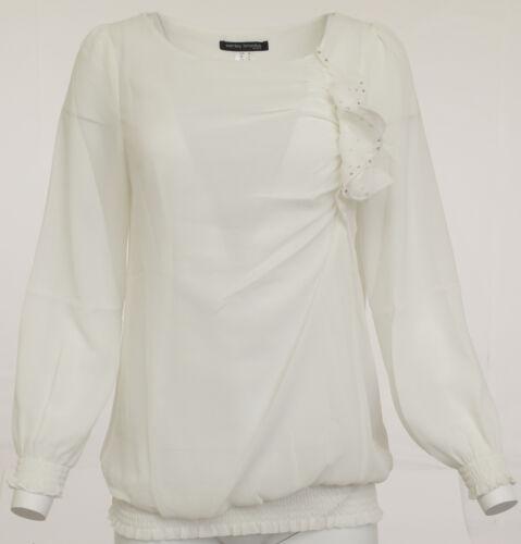 Ashley Brooke Femmes Mousseline Chemisier tunique shirt manches longues blanc 006879