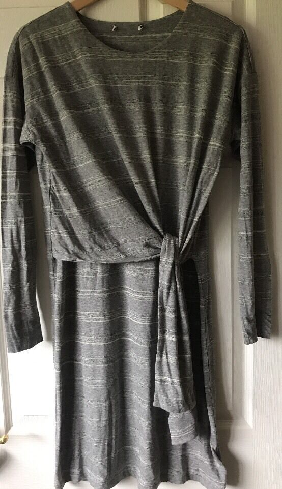 Whistles Louise Tie Front Dress Grey Size 12