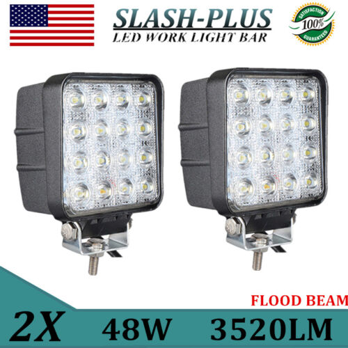 2PCS 48W Square LED Work Light Flood Lamp Ford Offroad Truck Tractor Boat 3520LM