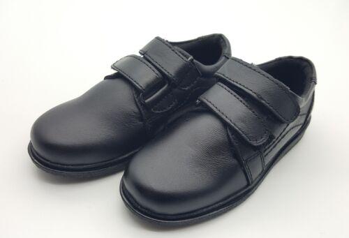 School Shoes Boys Junior Kids Formal Dress Fasten Hook Loop 100/% Leather