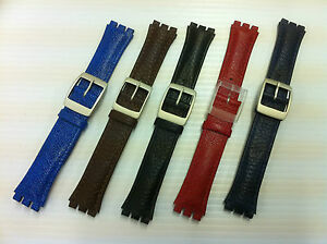 Leather-watch-strap-to-suit-standard-size-Swatch-Watch-17mm-Red-Blue-Brown-Black