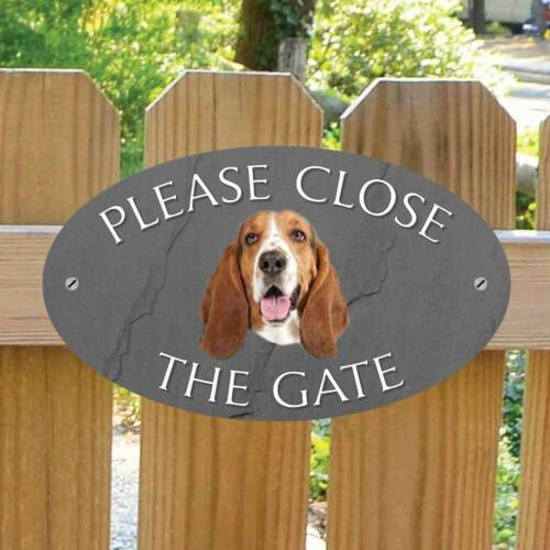 Stone Effect Please Close The Gate Sign Dog Gate Plaque Basset Hound Gate Sign Pet Supplies Signs Plaques