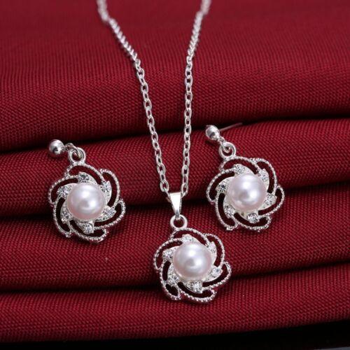 Wedding Bridal Jewelry Set Women Crystal Rhinestone Necklace Earrings Party