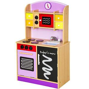 Wooden Children's Kitchen Set | Wooden Childrens Kids Kitchen Pretend Role Play Modern Cooking Toys