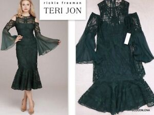 b882fdae7a1 NWT TERI JON Size 2 cold-shoulder bell-sleeves emerald green lace 2 ...