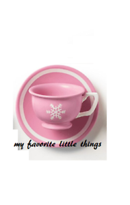 "American Girl pink tea cup snowflake mug saucer dish plate for 18/"" doll NEW"