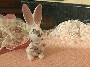 Vintage-1940s-Delee-Art-5-Rabbit-BUNNNY-HUG-Handmade-Pottery-Hollywood-CA-Rare